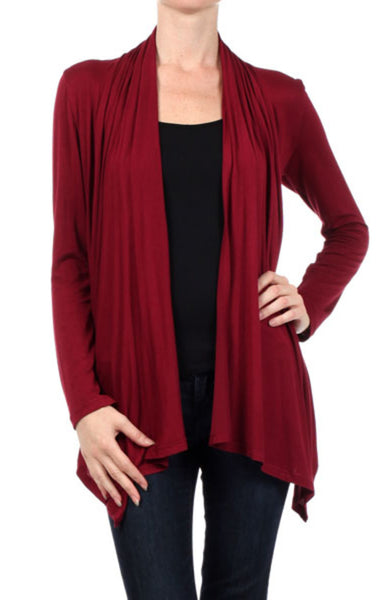 Draped Long Sleeve Open Front Cardigan | 30% Off First Order | Wine