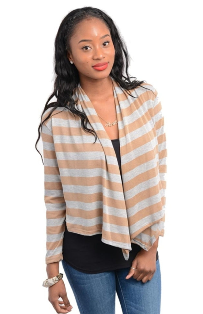 Striped Open Front Cardigan - BodiLove | 30% Off First Order  - 5