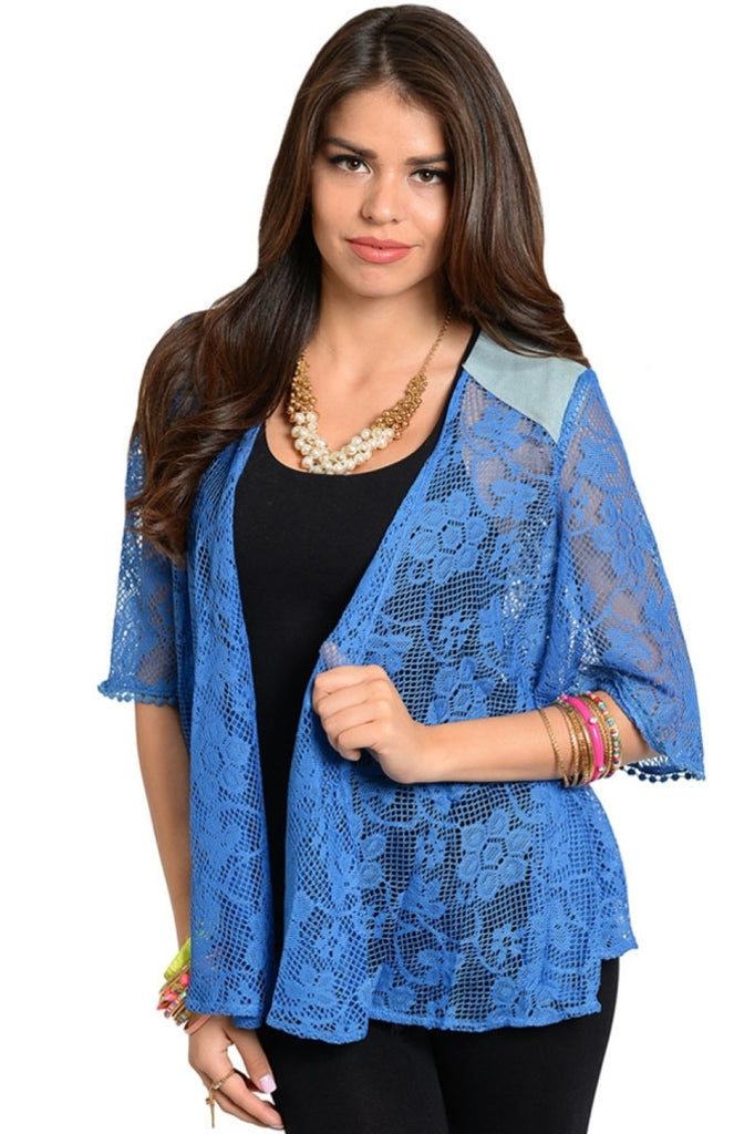 3/4 Sleeve Lace Kimono Cardigan - BodiLove | 30% Off First Order  - 1