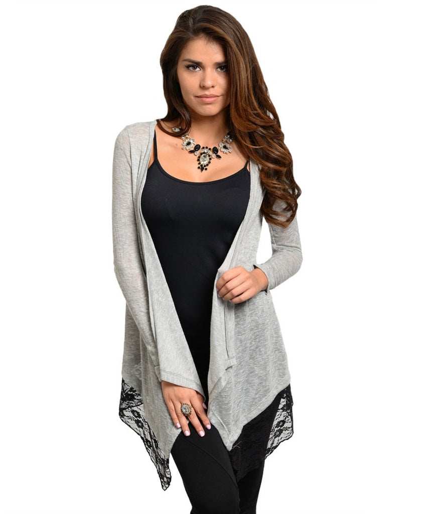Long Sleeve Cardigan with Lace Trim - BodiLove | 30% Off First Order  - 3