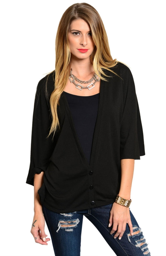 3/4 Kimono Sleeve Button Up Cardigan - BodiLove | 30% Off First Order  - 1