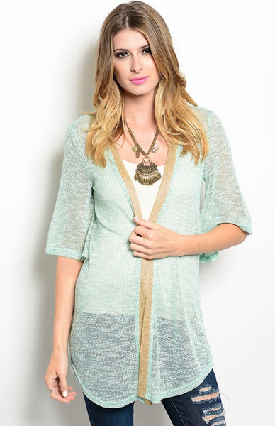 Draped Open Front Sheer Knit Cardigan - BodiLove | 30% Off First Order  - 1