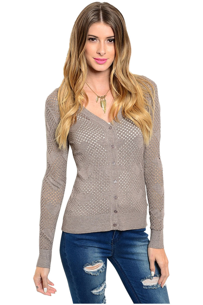 Long Sleeve V-Neck Button Down Cardigan - BodiLove | 30% Off First Order - 1