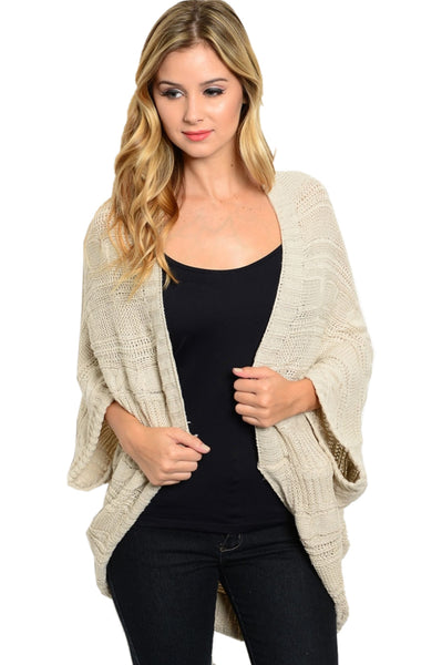 3/4 Sleeve Cable Knit Cocoon Shawl Cardigan - BodiLove | 30% Off First Order - 1