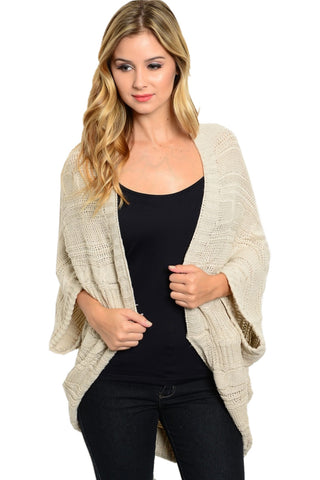 3/4 Sleeve Cable Knit Cocoon Shawl Cardigan