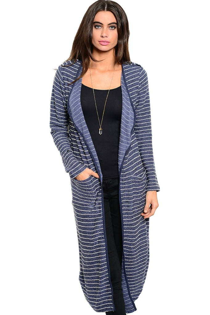 Long Sleeve Open Front Knit Maxi Cardigan - BodiLove | 30% Off First Order | Blue & Ivory