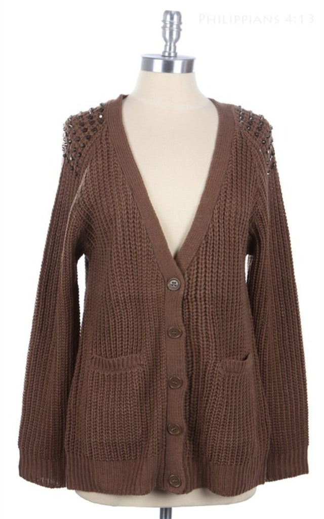V-Neck Studded Shoulder Open Knit Cardigan | 30% Off First Order | Mocha