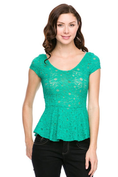 Lace Cap Sleeve Peplum Top - BodiLove | 30% Off First Order  - 1