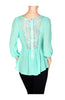 3/4 Sleeve Surplice Chiffon Peplum Blouse - BodiLove | 30% Off First Order  - 5