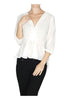 3/4 Sleeve Surplice Chiffon Peplum Blouse - BodiLove | 30% Off First Order  - 11