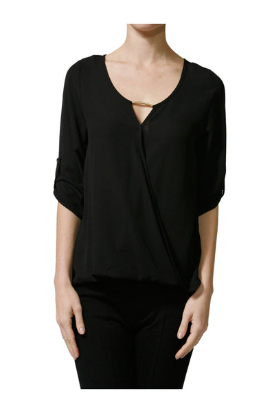 3/4 Sleeve Draped Surplice Chiffon Blouse - BodiLove | 30% Off First Order  - 1