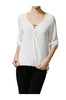 3/4 Sleeve Draped Surplice Chiffon Blouse - BodiLove | 30% Off First Order  - 14