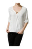 3/4 Sleeve Draped Surplice Chiffon Blouse - BodiLove | 30% Off First Order  - 13