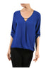 3/4 Sleeve Draped Surplice Chiffon Blouse - BodiLove | 30% Off First Order  - 3