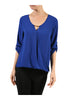 3/4 Sleeve Draped Surplice Chiffon Blouse - BodiLove | 30% Off First Order  - 4