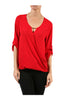 3/4 Sleeve Draped Surplice Chiffon Blouse - BodiLove | 30% Off First Order  - 17