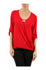 3/4 Sleeve Draped Surplice Chiffon Blouse - BodiLove | 30% Off First Order  - 18