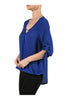 3/4 Sleeve Draped Surplice Chiffon Blouse - BodiLove | 30% Off First Order  - 6