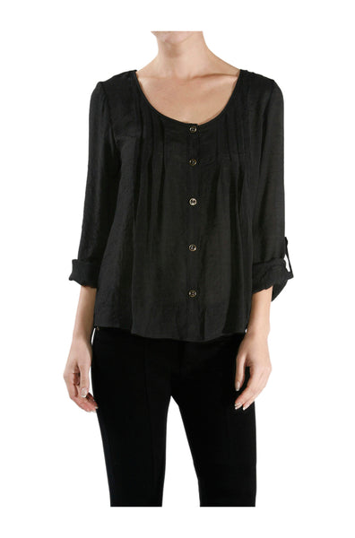 3/4 Sleeve Pin Tuck Blouse W/ Lace Back Panel - BodiLove | 30% Off First Order  - 1