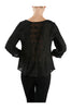 3/4 Sleeve Pin Tuck Blouse W/ Lace Back Panel - BodiLove | 30% Off First Order  - 2