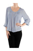 3/4 Sleeve Pin Tuck Blouse W/ Lace Back Panel - BodiLove | 30% Off First Order  - 4