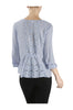 3/4 Sleeve Pin Tuck Blouse W/ Lace Back Panel - BodiLove | 30% Off First Order  - 5