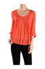 3/4 Sleeve Pin Tuck Blouse W/ Lace Back Panel - BodiLove | 30% Off First Order  - 11
