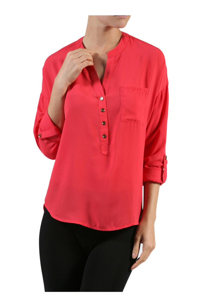 3/4 Sleeve Chiffon V-Neck Blouse - BodiLove | 30% Off First Order  - 9