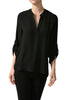 3/4 Sleeve Henley V-Neck High Low Blouse - BodiLove | 30% Off First Order  - 1