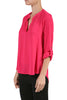 3/4 Sleeve Henley V-Neck High Low Blouse - BodiLove | 30% Off First Order  - 9