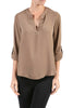 3/4 Sleeve Henley V-Neck High Low Blouse - BodiLove | 30% Off First Order  - 16