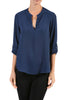 3/4 Sleeve Henley V-Neck High Low Blouse - BodiLove | 30% Off First Order  - 13