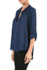 3/4 Sleeve Henley V-Neck High Low Blouse - BodiLove | 30% Off First Order  - 15