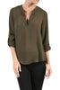3/4 Sleeve Henley V-Neck High Low Blouse - BodiLove | 30% Off First Order  - 10