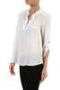 3/4 Sleeve Henley V-Neck High Low Blouse - BodiLove | 30% Off First Order  - 5