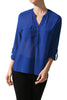 3/4 Sleeve Henley V-Neck High Low Blouse - BodiLove | 30% Off First Order  - 17