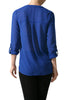 3/4 Sleeve Henley V-Neck High Low Blouse - BodiLove | 30% Off First Order  - 18