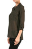 3/4 Sleeve Henley V-Neck High Low Blouse - BodiLove | 30% Off First Order  - 7