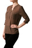 3/4 Sleeve Henley V-Neck High Low Blouse - BodiLove | 30% Off First Order  - 4