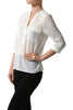 3/4 Sleeve Henley V-Neck High Low Blouse - BodiLove | 30% Off First Order  - 11