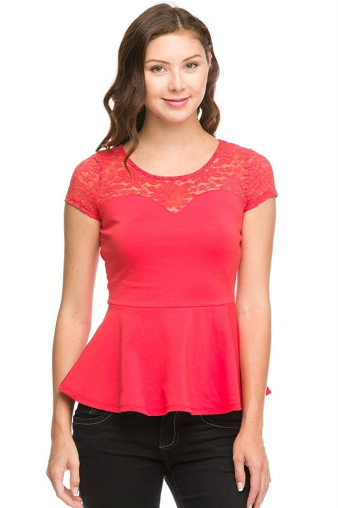 Peplum Top with Lace Yoke | 30% Off First Order | Coral1