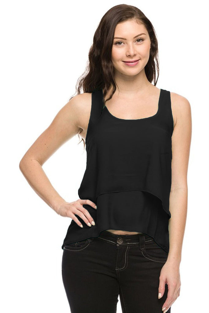 Layered Chiffon Hi Low Tank W/ Lace Back - BodiLove | 30% Off First Order  - 1