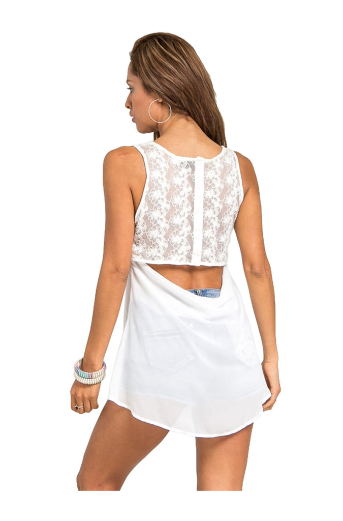 Sleeveless Hi Low Chiffon Top W/ Lace Open Back | 30% Off First Order | Ivory