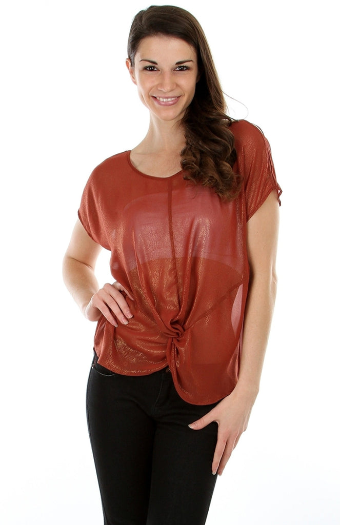 Shimmer Chiffon Knotted Blouse - BodiLove | 30% Off First Order  - 4