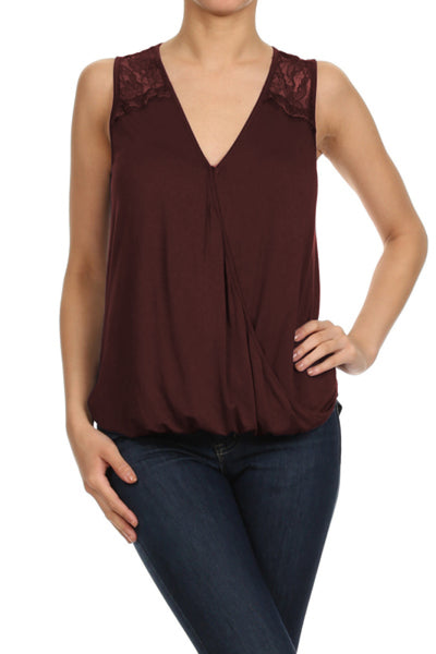 Sleeveless V-Neck Blouse W/ Lace Back Yoke | 30% Off First Order | Burgundy