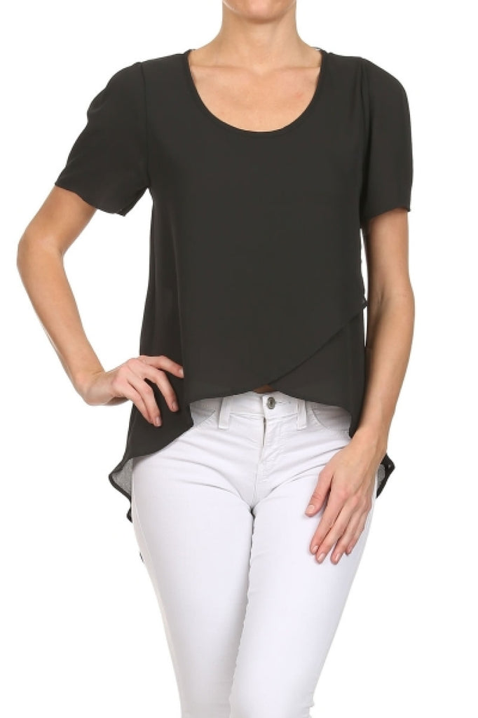 Short Sleeve Hi-Low Chiffon Blouse - BodiLove | 30% Off First Order  - 1