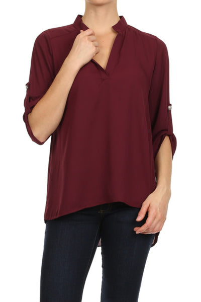 3/4 Sleeve Chiffon V-Neck High Low Blouse | 30% Off First Order | Wine