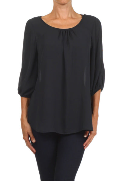 3/4 Sleeve Chiffon Blouse W/ Shoulder Cutouts - BodiLove | 30% Off First Order  - 1