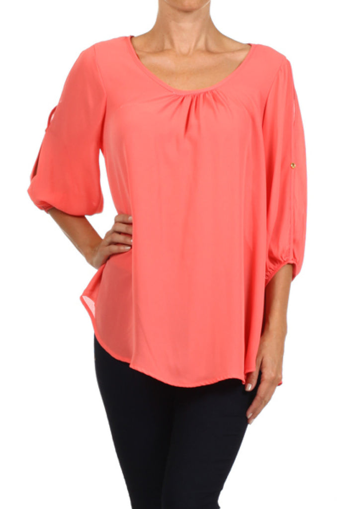 3/4 Sleeve Chiffon Blouse W/ Shoulder Cutouts - BodiLove | 30% Off First Order  - 17