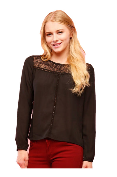 Dressy Long Sleeve Draped Surplice Blouse - BodiLove | 30% Off First Order - 1
